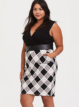 Black Plaid Premium Ponte & Black Jersey Sheath Dress, PLAID - BLACK, alternate