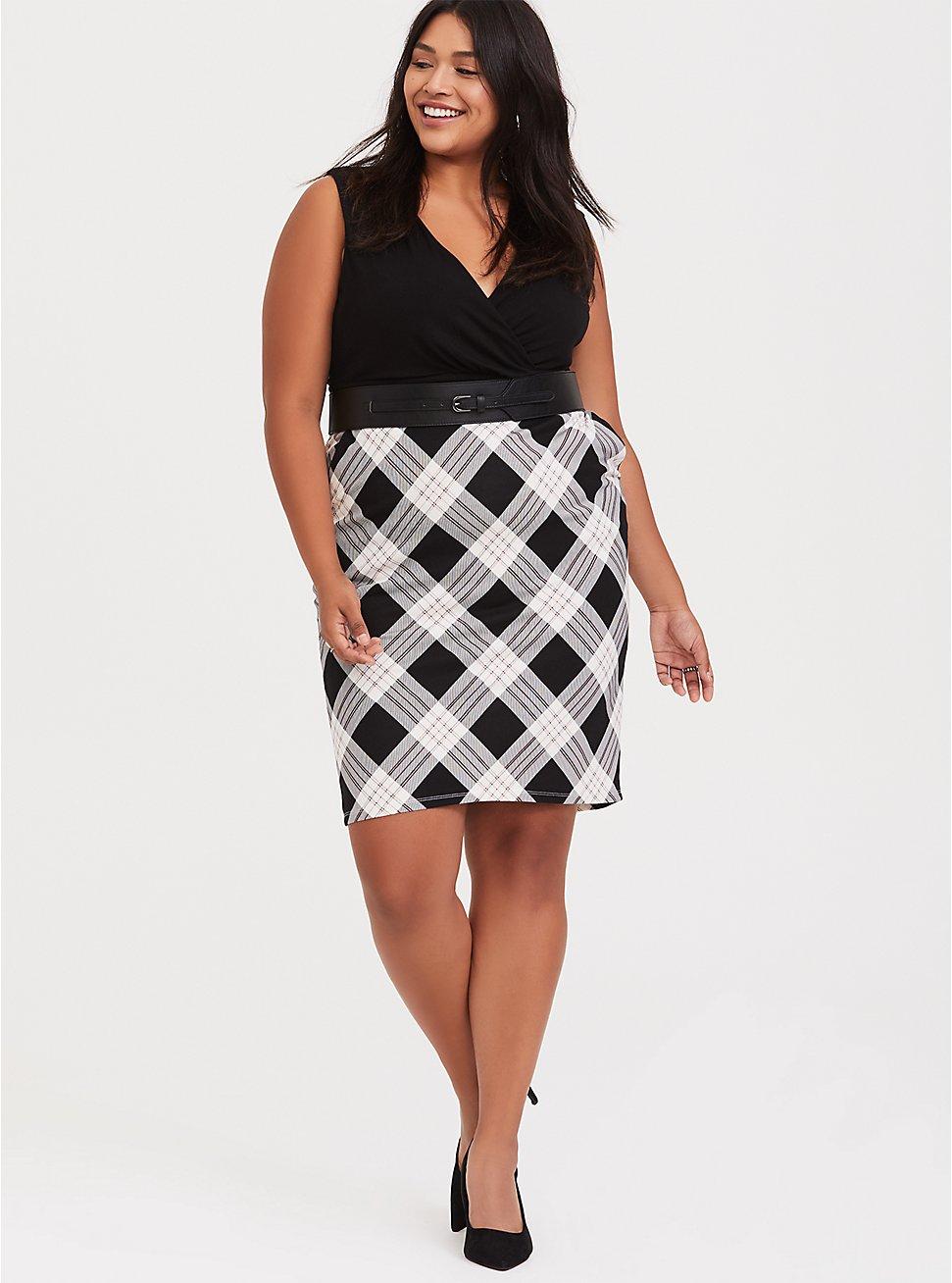 Plus Size Black Plaid Premium Ponte & Black Jersey Sheath Dress, PLAID - BLACK, hi-res