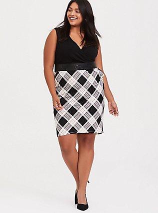 Black Plaid Premium Ponte & Black Jersey Sheath Dress, PLAID - BLACK, hi-res