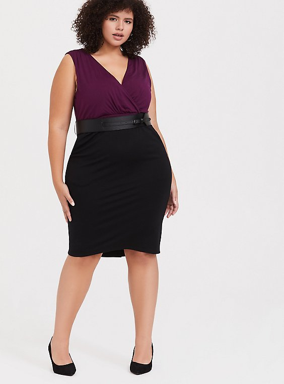 Black Premium Ponte & Burgundy Purple Jersey Sheath Dress, , hi-res