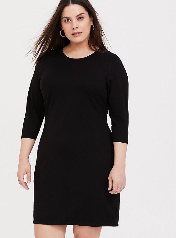 Black Premium Ponte Shift Dress, , hi-res