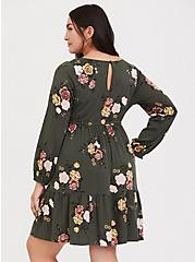 Olive Green Floral Challis Drawstring Skater Dress, FLORAL - GREEN, alternate