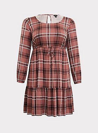 Walnut Plaid Challis Drawstring Skater Dress, PLAID - BROWN, flat
