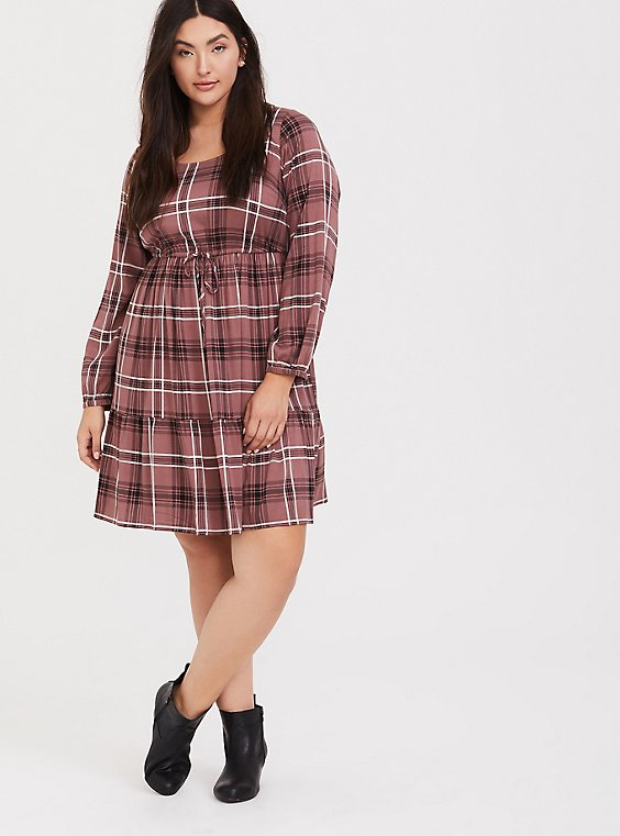 Walnut Plaid Challis Drawstring Skater Dress, , hi-res