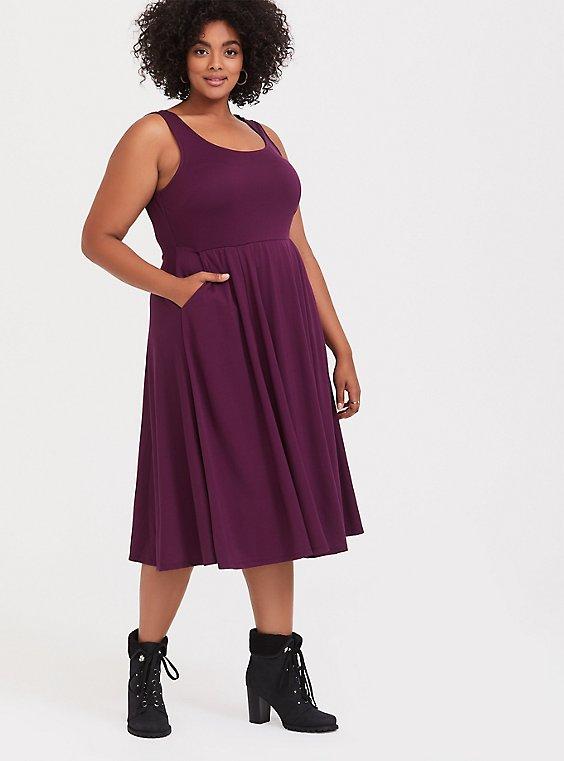 Burgundy Purple Premium Ponte Skater Dress, , hi-res