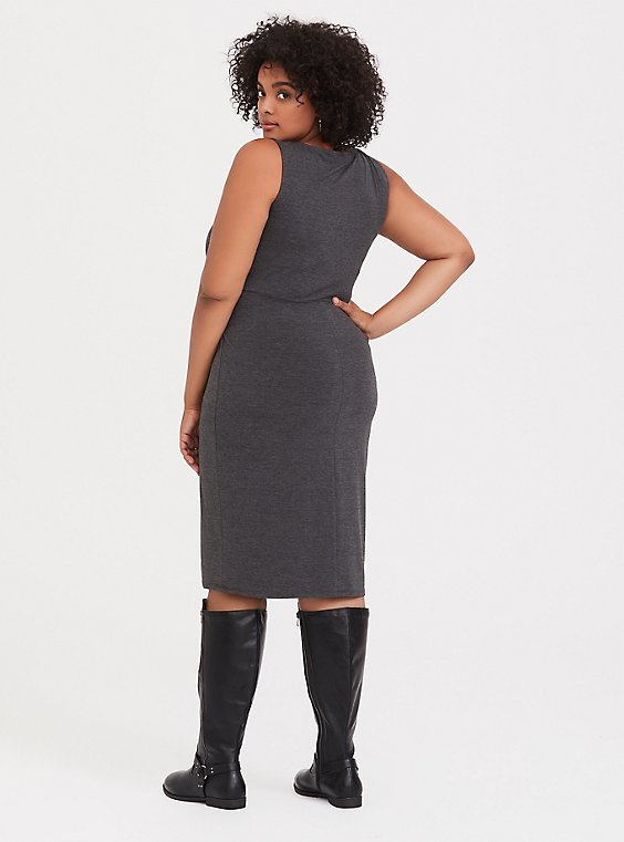 Charcoal Grey Jersey Tie Front Shift Dress - Plus Size | Torrid