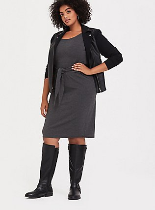 Charcoal Grey Jersey Tie Front Shift Dress, CHARCOAL HEATHER, hi-res