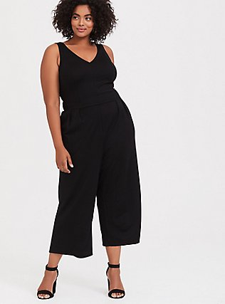 Black Premium Ponte Culotte Jumpsuit, DEEP BLACK, alternate