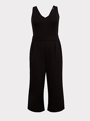Black Premium Ponte Culotte Jumpsuit, DEEP BLACK, flat
