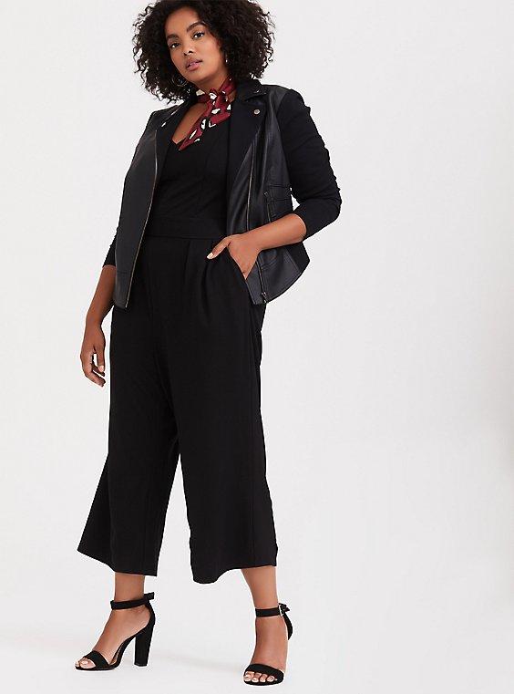 Plus Size Black Premium Ponte Culotte Jumpsuit, , hi-res