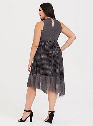 Black Diamond Mesh Asymmetrical Dress, DIAMONDS - BLACK, alternate