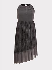 Black Diamond Mesh Asymmetrical Dress, DIAMONDS - BLACK, hi-res