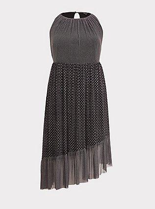 Black Diamond Mesh Asymmetrical Dress, DIAMONDS - BLACK, flat