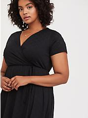Black Jersey Eyelet Wrap Dress, DEEP BLACK, alternate