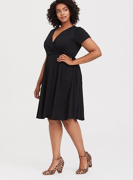 Black Jersey Eyelet Wrap Dress, , hi-res