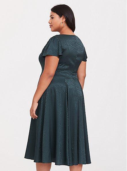 Dark Green Textured Midi Dress, GREEN GABLES, alternate