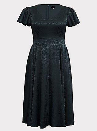 Dark Green Textured Midi Dress, GREEN GABLES, flat