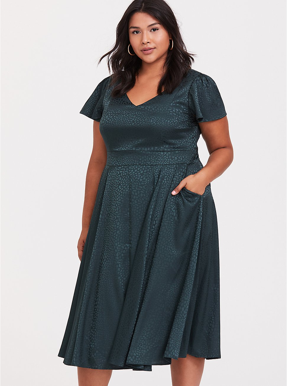 Dark Green Textured Midi Dress, GREEN GABLES, hi-res