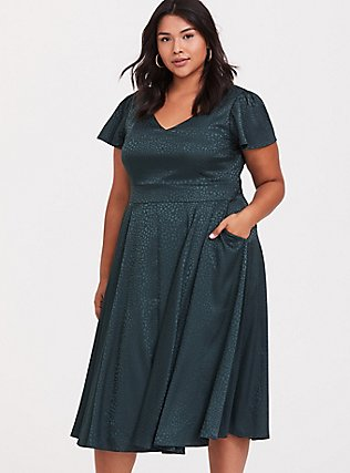 Dark Green Textured Midi Dress, GREEN GABLES, hi-res