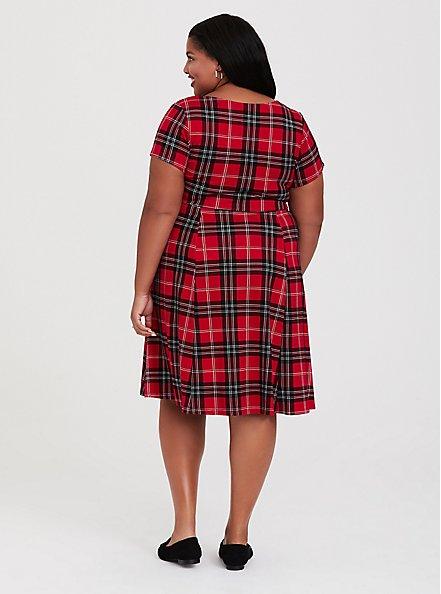 Plus Size Red Plaid Premium Ponte Sweetheart Skater Dress, PLAID - RED, alternate