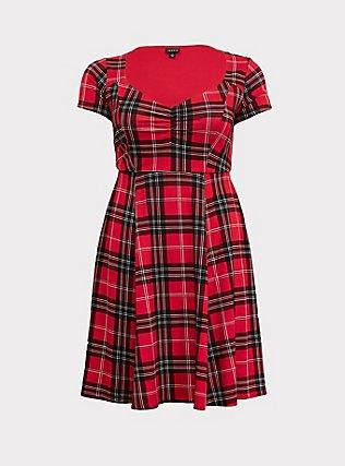 Red Plaid Premium Ponte Sweetheart Skater Dress, PLAID - RED, flat