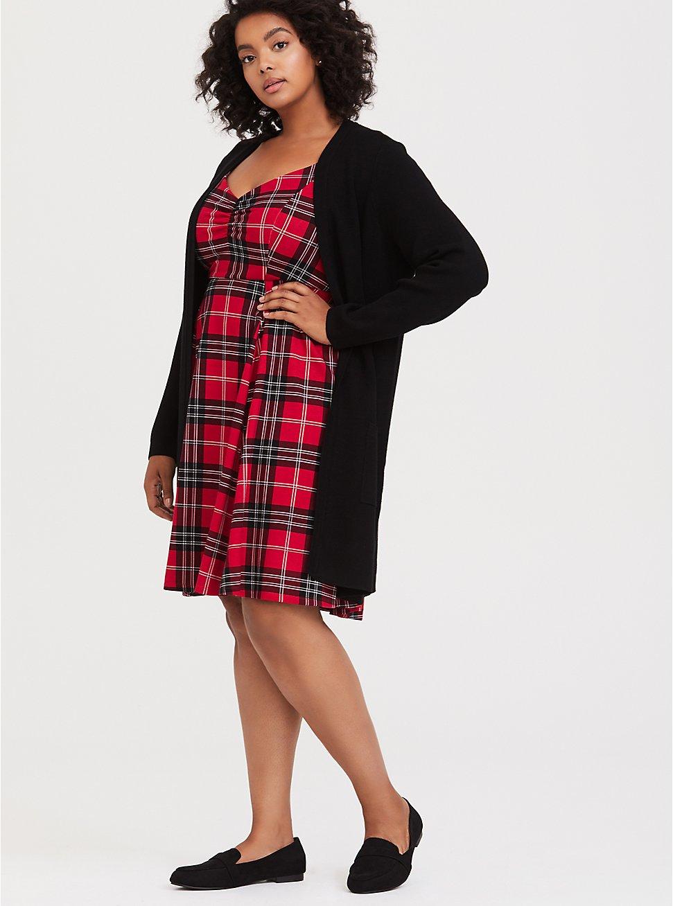 Plus Size Red Plaid Premium Ponte Sweetheart Skater Dress, PLAID - RED, hi-res