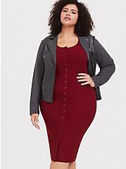 Plus Size Dark Red Rib Snap-Button Front Midi Dress, BIKING RED, alternate