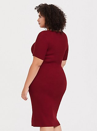 Plus Size Dark Red Rib Snap-Button Front Midi Dress, BIKING RED, alternate