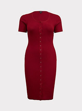 Plus Size Dark Red Rib Snap-Button Front Midi Dress, BIKING RED, flat