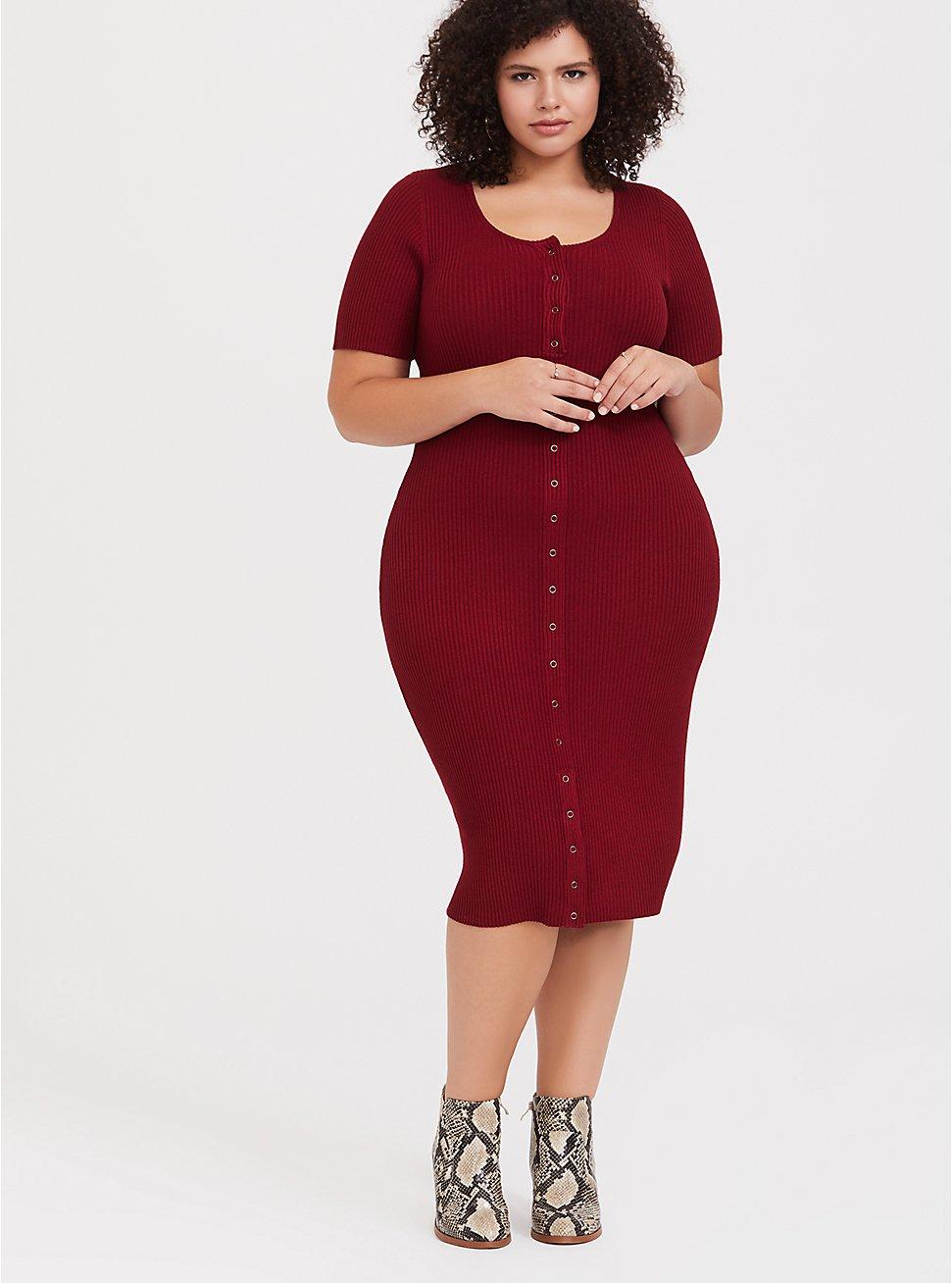 Plus Size Dark Red Rib Snap-Button Front Midi Dress, BIKING RED, hi-res