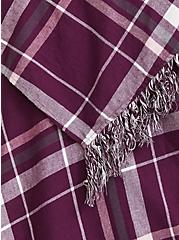 Purple & White Plaid Fringe Kimono, , alternate