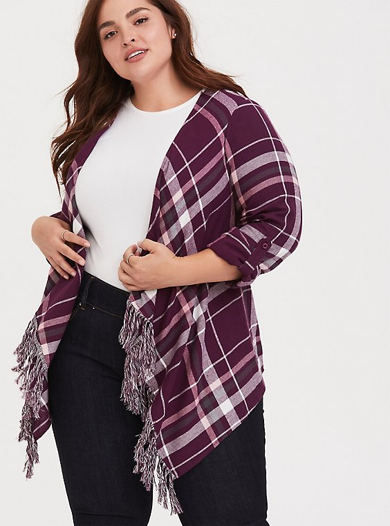 Plus Size Purple & White Plaid Fringe Kimono, , hi-res