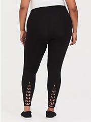 Plus Size Premium Legging - Macrame Back Black, BLACK, hi-res