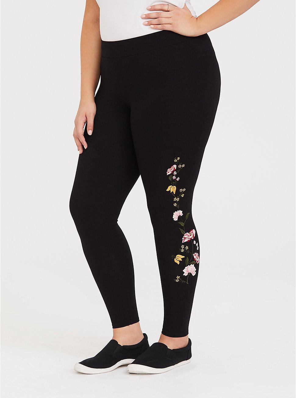 Premium Legging - Embroidered Floral Black, BLACK, hi-res
