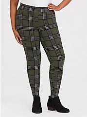 Premium Legging - Plaid Olive Green, MULTI, alternate