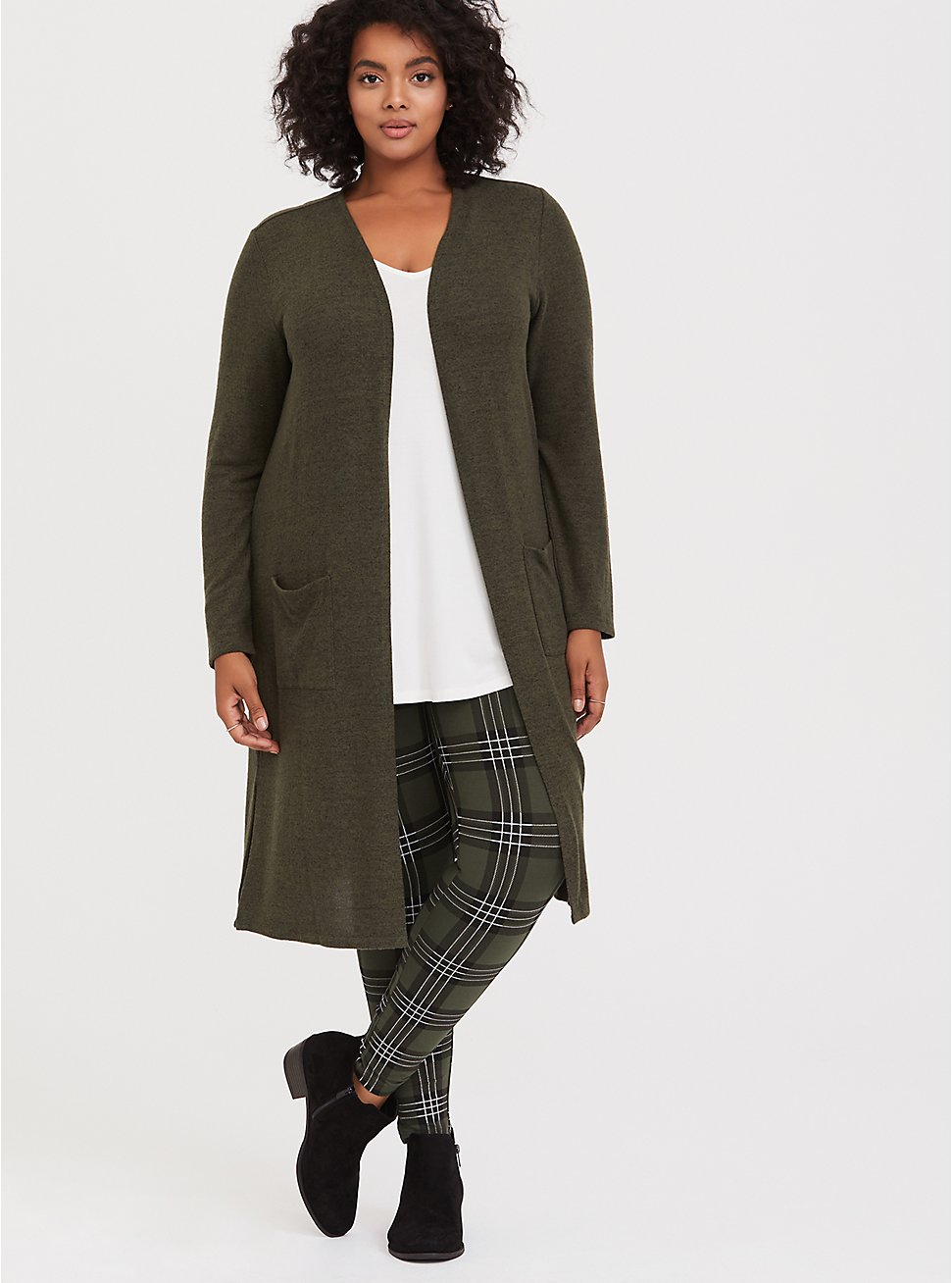 Premium Legging - Plaid Olive Green, MULTI, hi-res