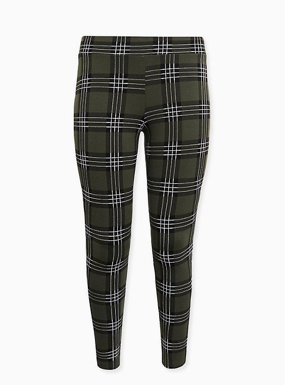 Premium Legging - Plaid Olive Green, MULTI, ls