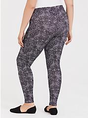 Premium Legging - Fuax Lace Skull Dusty Purple, MULTI, alternate