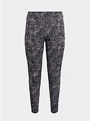 Premium Legging - Fuax Lace Skull Dusty Purple, MULTI, hi-res