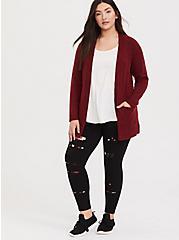 Plus Size Premium Legging - Slashed Floral Underlay Black, MULTI, hi-res