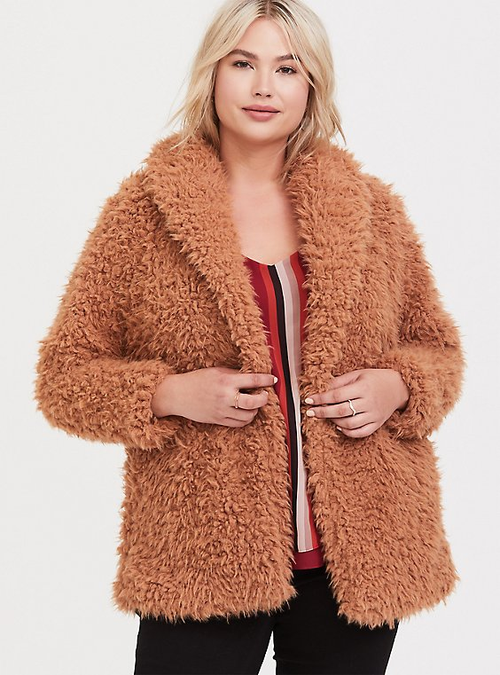 Caramel Faux Shearling Teddy Jacket, , hi-res