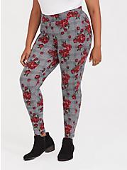 Plus Size Premium Legging - Plaid & Floral Red & Black, MULTI, alternate