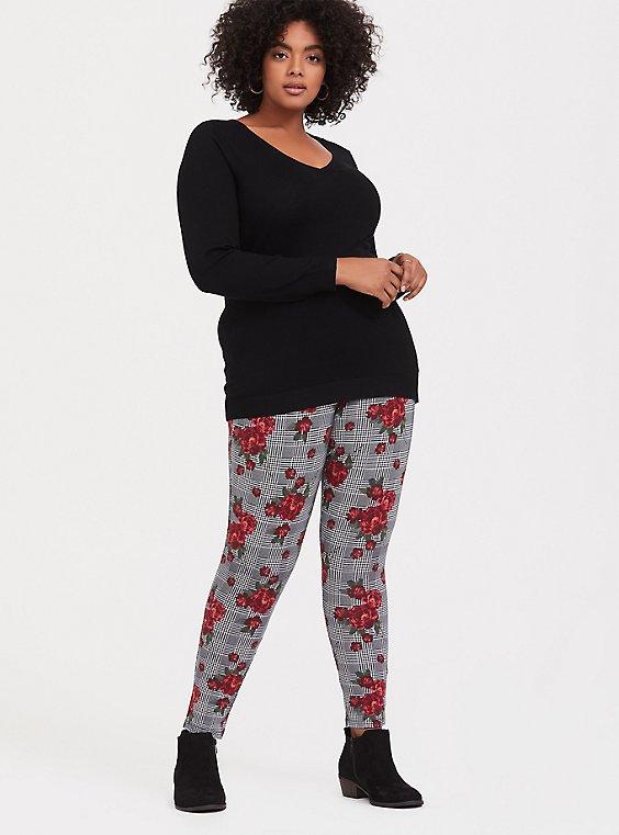 Plus Size Premium Legging - Plaid & Floral Red & Black, , hi-res