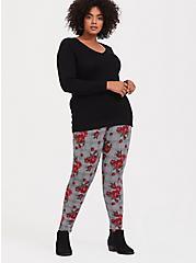 Plus Size Premium Legging - Plaid & Floral Red & Black, MULTI, hi-res