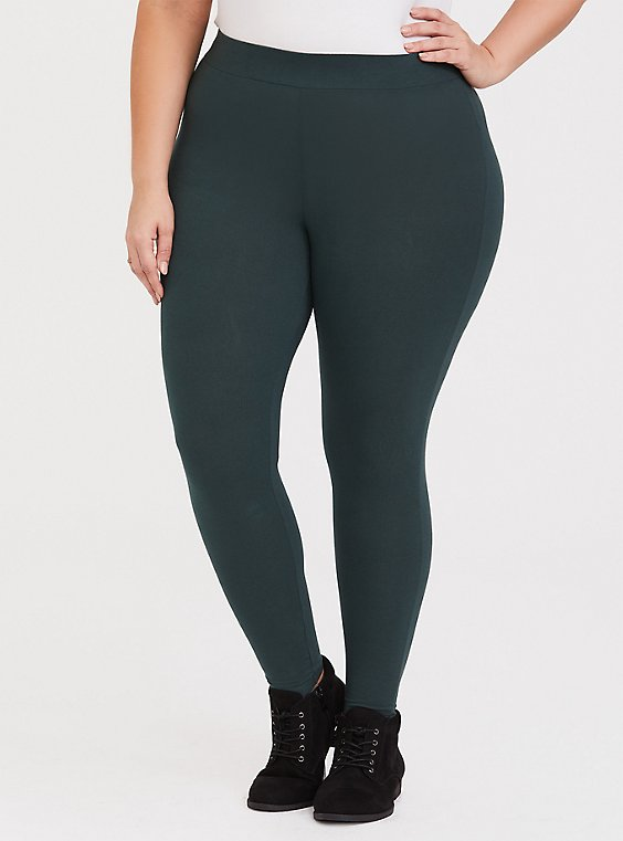 Dark Green Knit Legging, , hi-res