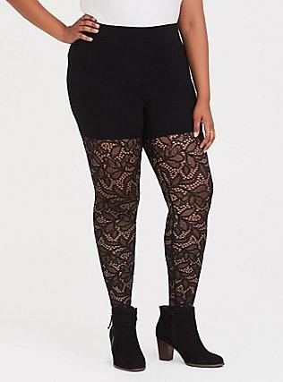 Premium Legging - Semi-Sheer Lace Black, BLACK, alternate