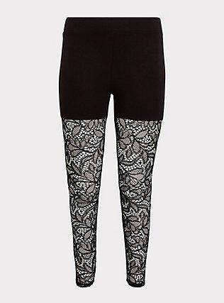 Premium Legging - Semi-Sheer Lace Black, BLACK, flat