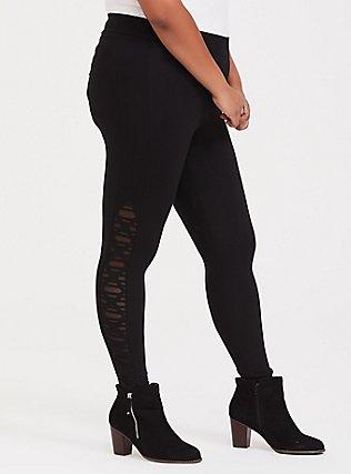 Premium Legging - Slashed Mesh Underlay Black, BLACK, alternate