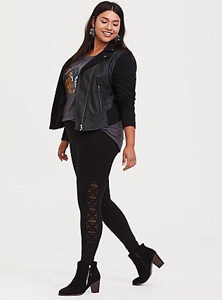 Premium Legging - Slashed Mesh Underlay Black, BLACK, hi-res