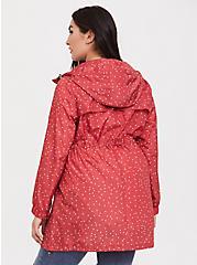 Plus Size Red Polka Dot Nylon Hooded Longline Rain Jacket, , alternate